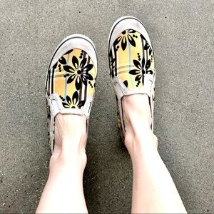 KEDS slip on SNEAKERS floral print shoes yellow 10